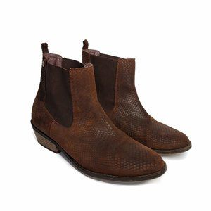 Roxy Snake Embossed Leather Ankle Boots